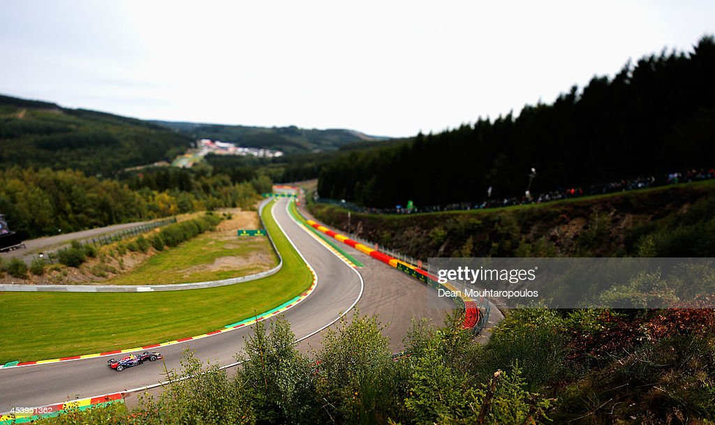 Daniel Ricciardo of Australia and Infiniti Red Bull Racing drives during practice ahead of the Belgian Grand Prix at Circuit de Spa-Francorchamps on August 22, 2014 in Spa, Belgium.