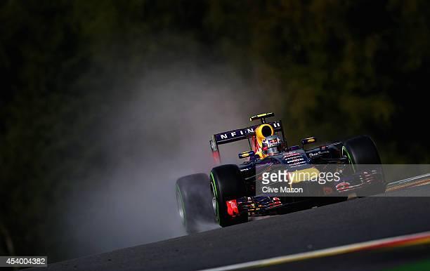 Daniel Ricciardo of Australia and Infiniti Red Bull Racing drives during final practice ahead of the Belgian Grand Prix at Circuit de...