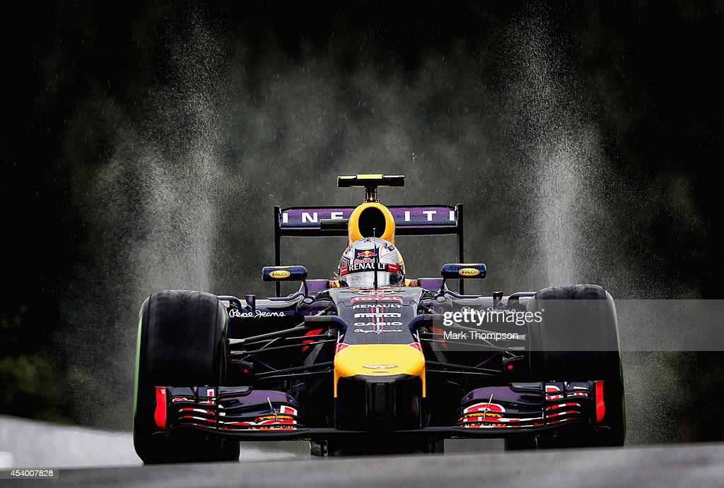 Daniel Ricciardo of Australia and Infiniti Red Bull Racing drives during final practice ahead of the Belgian Grand Prix at Circuit de Spa-Francorchamps on August 23, 2014 in Spa, Belgium.