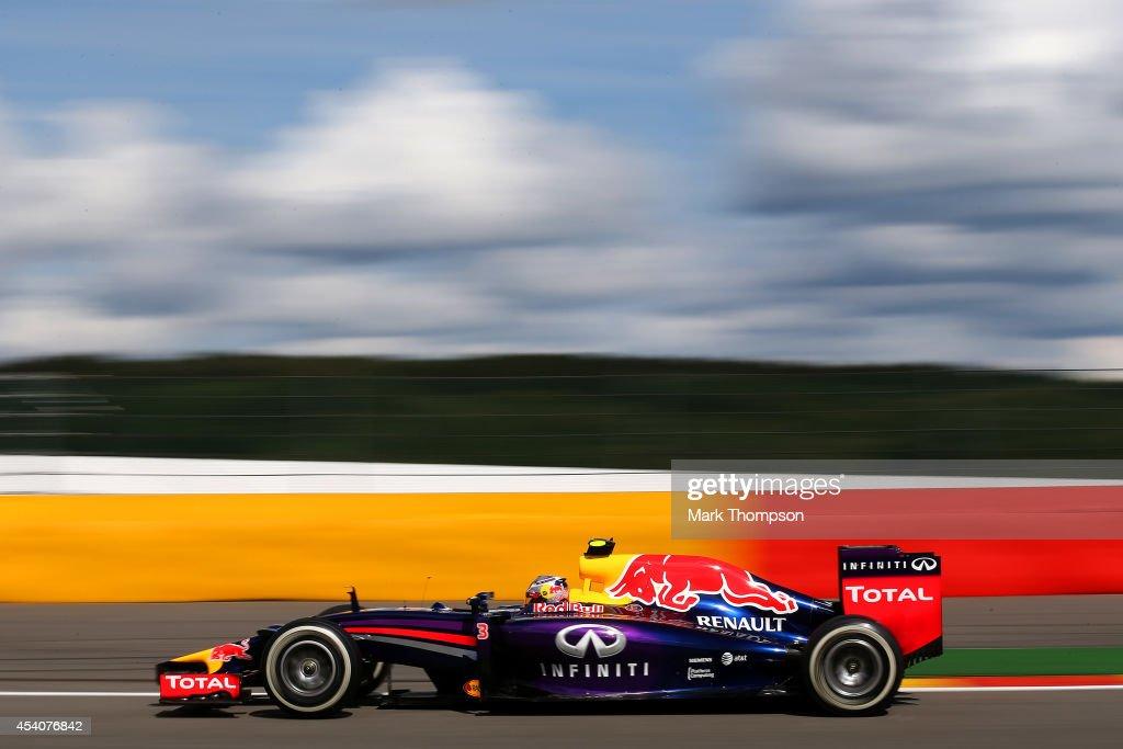 Daniel Ricciardo of Australia and Infiniti Red Bull Racing drives during the Belgian Grand Prix at Circuit de Spa-Francorchamps on August 24, 2014 in Spa, Belgium.