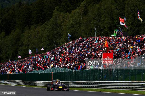 Daniel Ricciardo of Australia and Infiniti Red Bull Racing drives during the Belgian Grand Prix at Circuit de SpaFrancorchamps on August 24 2014 in...
