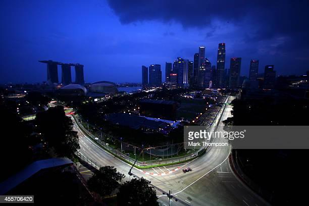 Daniel Ricciardo of Australia and Infiniti Red Bull Racing drives during practice ahead of the Singapore Formula One Grand Prix at Marina Bay Street...