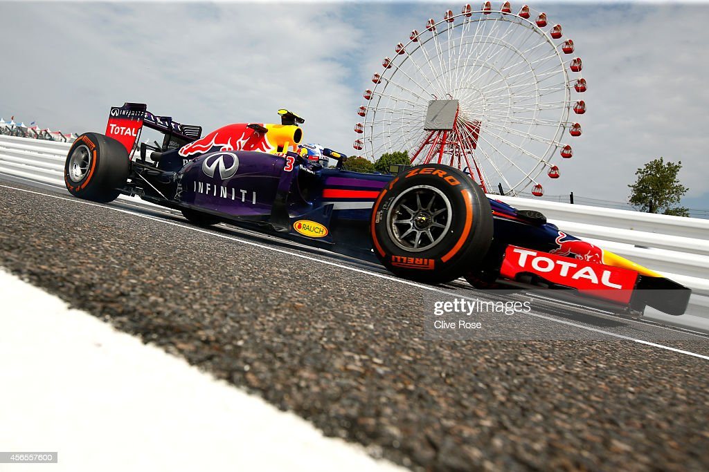 Daniel Ricciardo of Australia and Infiniti Red Bull Racing drives during practice for the Japanese Formula One Grand Prix at Suzuka Circuit on...