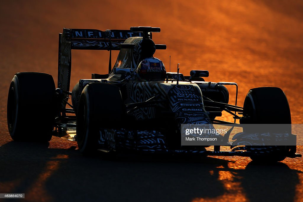Daniel Ricciardo of Australia and Infiniti Red Bull Racing drives during day one of Formula One Winter Testing at Circuit de Catalunya on February 19...