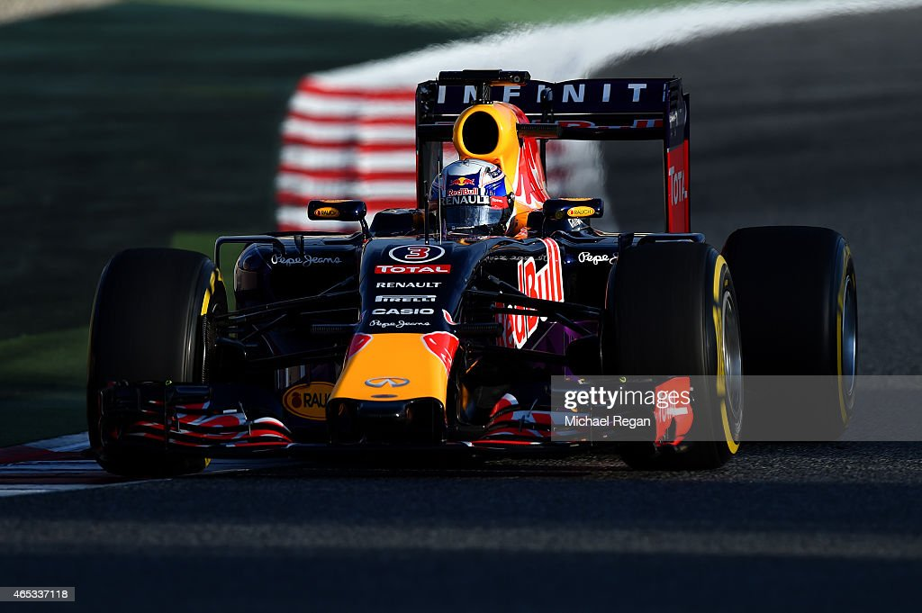 Daniel Ricciardo of Australia and Infiniti Red Bull Racing drives during day two of Red Bull Racing filming at Circuit de Catalunya on March 3 2015...