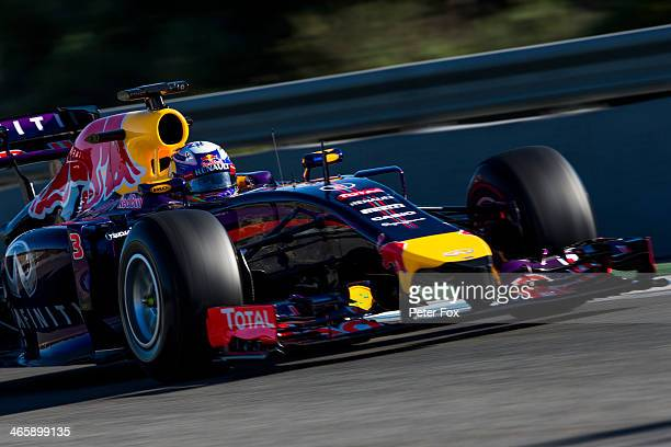 Daniel Ricciardo of Australia and Infiniti Red Bull Racing drives during day three of Formula One Winter Testing at the Circuito de Jerez on January...