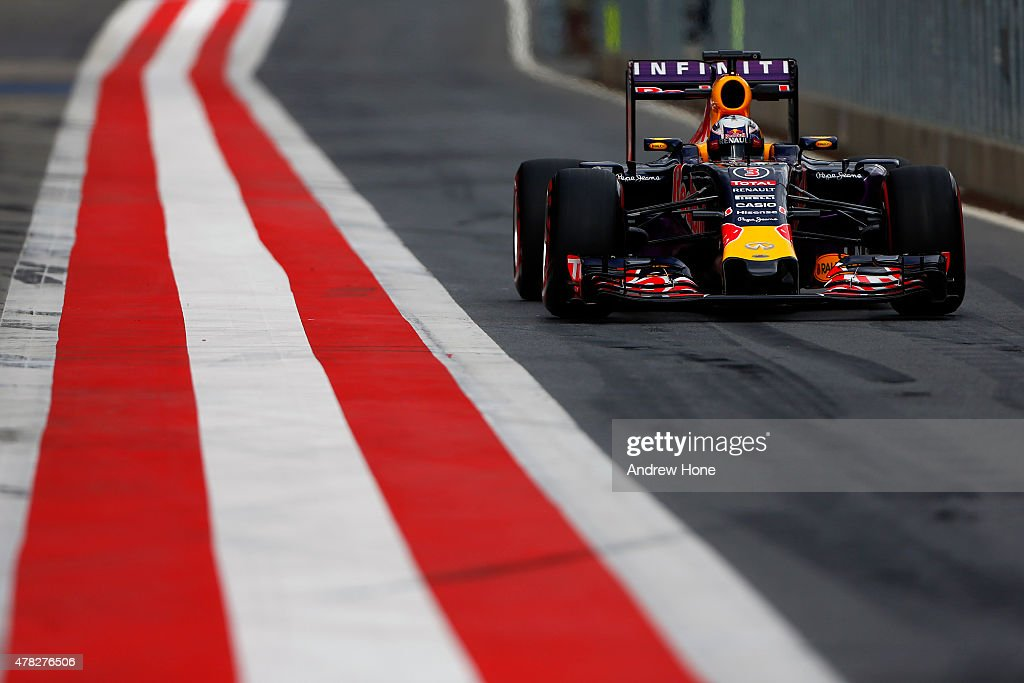 Daniel Ricciardo of Australia and Infiniti Red Bull Racing drives during Formula One Testing at the Red Bull Ring on June 24 2015 in Spielberg Austria