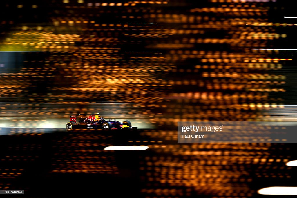 <a gi-track='captionPersonalityLinkClicked' href=/galleries/search?phrase=Daniel+Ricciardo&family=editorial&specificpeople=6547569 ng-click='$event.stopPropagation()'>Daniel Ricciardo</a> of Australia and Infiniti Red Bull Racing drives during practice for the Bahrain Formula One Grand Prix at the Bahrain International Circuit on April 4, 2014 in Sakhir, Bahrain.