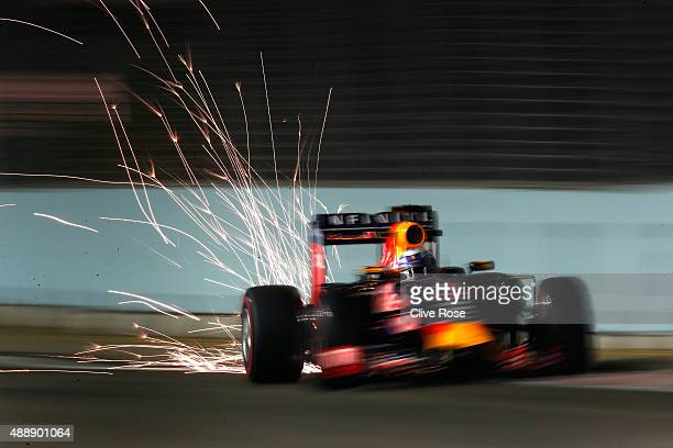 Daniel Ricciardo of Australia and Infiniti Red Bull Racing drives during practice for the Formula One Grand Prix of Singapore at Marina Bay Street...