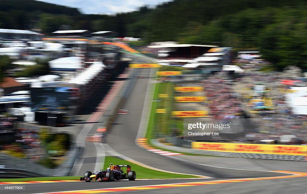 Daniel Ricciardo of Australia and Infiniti Red Bull Racing driving during the Belgian Grand Prix at Circuit de Spa-Francorchamps on August 24, 2014 in Spa, Belgium.