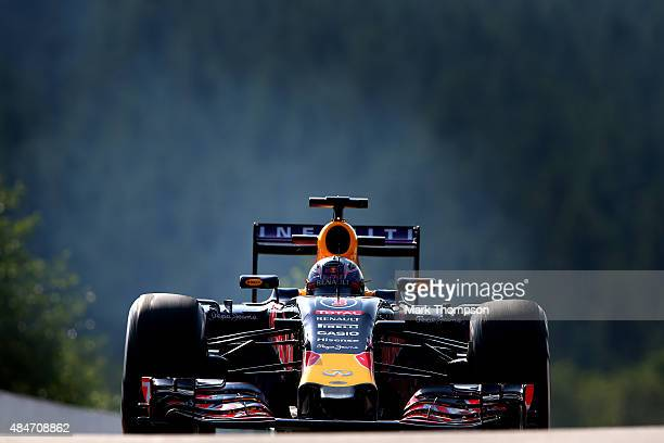Daniel Ricciardo of Australia and Infiniti Red Bull Racing during practice for the Formula One Grand Prix of Belgium at Circuit de SpaFrancorchamps...