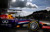 Daniel Ricciardo of Australia and Infiniti Red Bull Racing exits the garage before the start of the Belgian Grand Prix at Circuit de SpaFrancorchamps...