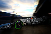 Daniel Ricciardo of Australia and Infiniti Red Bull Racing exits the garage during day three of Formula One Winter Testing at Circuito de Jerez on...