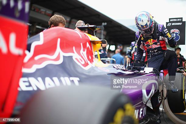 Daniel Ricciardo of Australia and Infiniti Red Bull Racing gets out of his car on the grid before the Formula One Grand Prix of Austria at Red Bull...