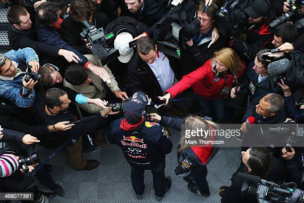 Daniel Ricciardo of Australia and Infiniti Red Bull Racing is interviewed by the media during day four of Formula One Winter Testing at the Circuito...