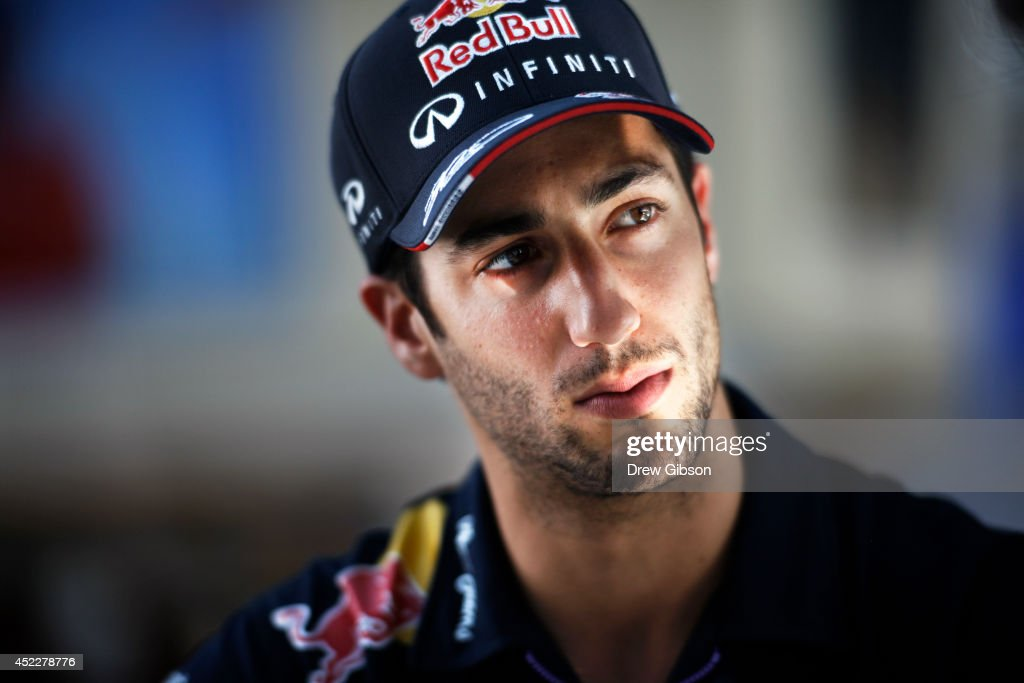 <a gi-track='captionPersonalityLinkClicked' href=/galleries/search?phrase=Daniel+Ricciardo&family=editorial&specificpeople=6547569 ng-click='$event.stopPropagation()'>Daniel Ricciardo</a> of Australia and Infiniti Red Bull Racing looks on as he takes part in an interview during previews ahead of the German Grand Prix at Hockenheimring on July 17, 2014 in Hockenheim, Germany.