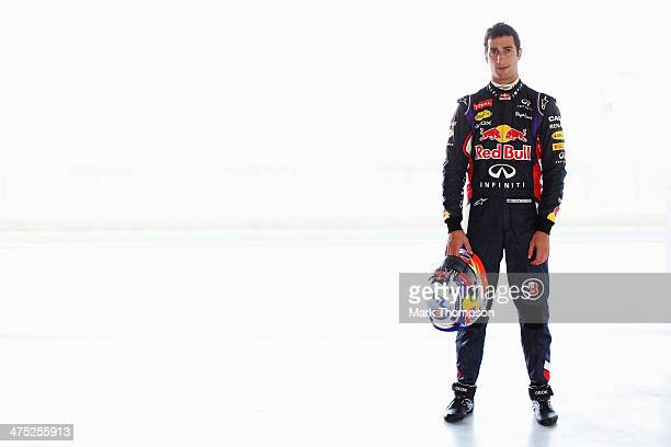 Daniel Ricciardo of Australia and Infiniti Red Bull Racing poses for a photograph during day one of Formula One Winter Testing at the Bahrain...