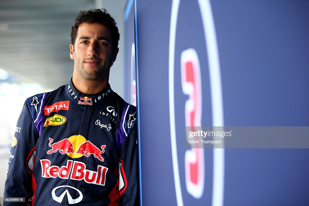 Daniel Ricciardo of Australia and Infiniti Red Bull Racing poses outside the garage during day two of Formula One Winter Testing at Circuito de Jerez on February 2, 2015 in Jerez de la Frontera, Spain.