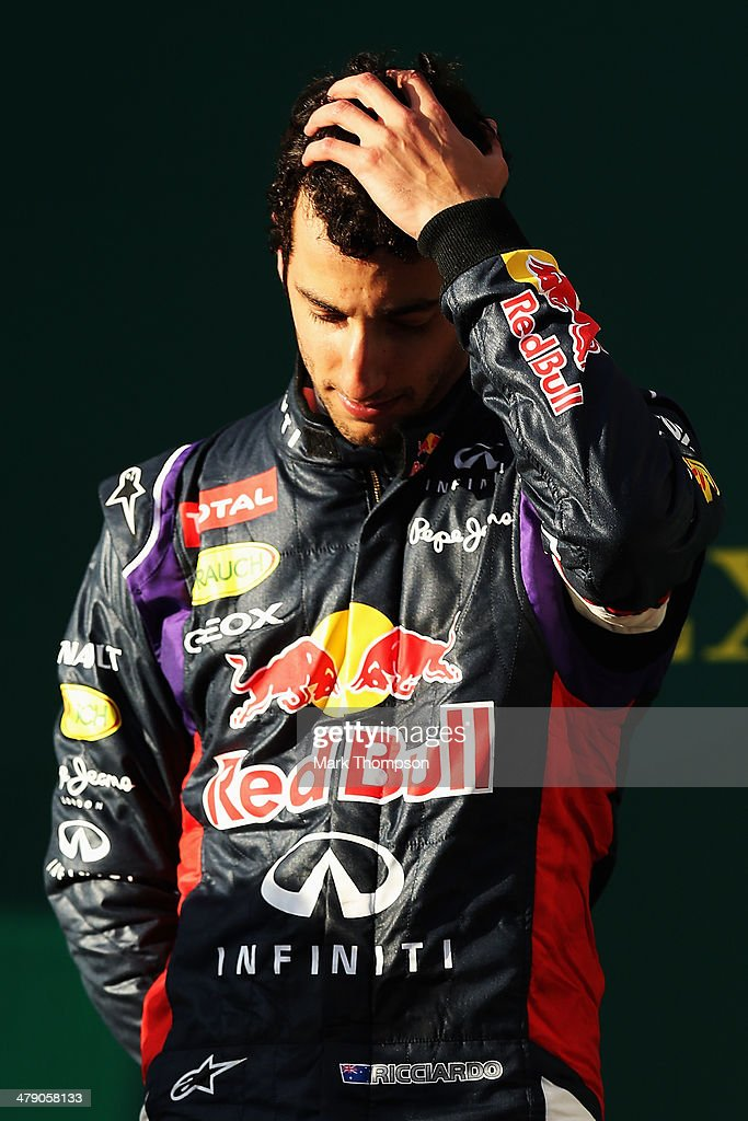 Daniel Ricciardo of Australia and Infiniti Red Bull Racing reacts on the podium after finishing second during the Australian Formula One Grand Prix at Albert Park on March 16, 2014 in Melbourne, Australia.
