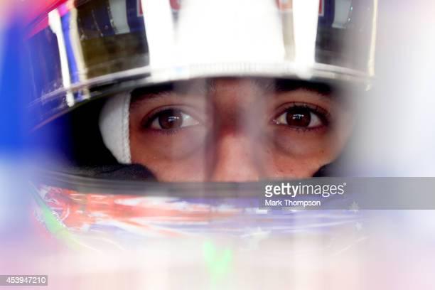 Daniel Ricciardo of Australia and Infiniti Red Bull Racing sits in his car in the garage during practice ahead of the Belgian Grand Prix at Circuit...