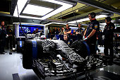 Daniel Ricciardo of Australia and Infiniti Red Bull Racing sits in his car in the garage during day three of Formula One Winter Testing at Circuito...