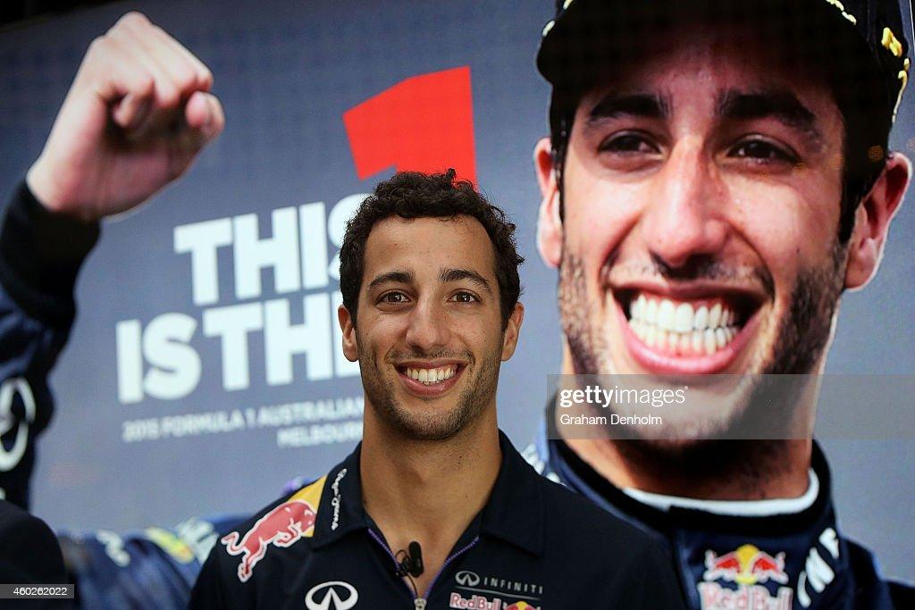 <a gi-track='captionPersonalityLinkClicked' href=/galleries/search?phrase=Daniel+Ricciardo&family=editorial&specificpeople=6547569 ng-click='$event.stopPropagation()'>Daniel Ricciardo</a> of Australia and Infiniti Red Bull Racing talks to the media during the 2015 Formula 1 Australian Grand Prix Launch at Taxi Kitchen on December 11, 2014 in Melbourne, Australia.
