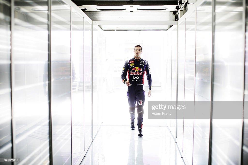 Daniel Ricciardo of Australia and Infiniti Red Bull Racing walks into the garage during practice ahead of the German Grand Prix at Hockenheimring on...