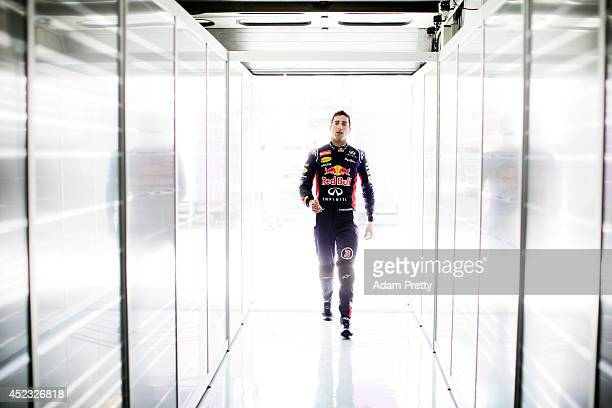 Daniel Ricciardo of Australia and Infiniti Red Bull Racing walks into the garage during practice ahead of the German Grand Prix at Hockenheimring on...