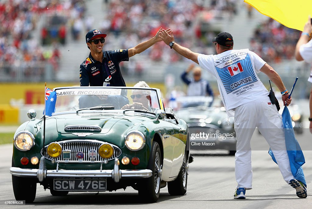 Daniel Ricciardo of Australia and Infiniti Red Bull Racing waves to the fans prior to the Canadian Formula One Grand Prix at Circuit Gilles...