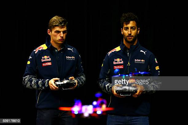 Daniel Ricciardo of Australia and Red Bull Racing and Max Verstappen of Netherlands and Red Bull Racing race drones during previews to the Canadian...