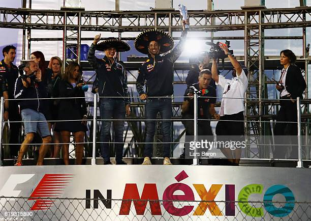 Daniel Ricciardo of Australia and Red Bull Racing and Max Verstappen of Netherlands and Red Bull Racing celebrate getting third and fourth positions...