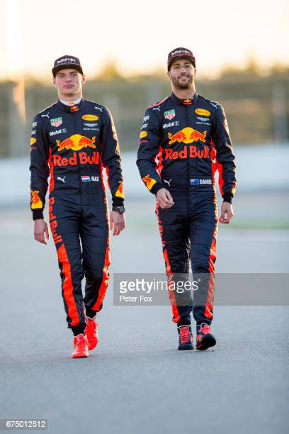 Daniel Ricciardo of Australia and Red Bull Racing and Max Verstappen of Netherlands and Red Bull Racing pose for a photo during previews to the...