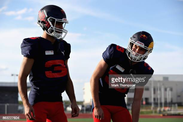 Daniel Ricciardo of Australia and Red Bull Racing and Max Verstappen of Netherlands and Red Bull Racing at a training session with the Del Valle...