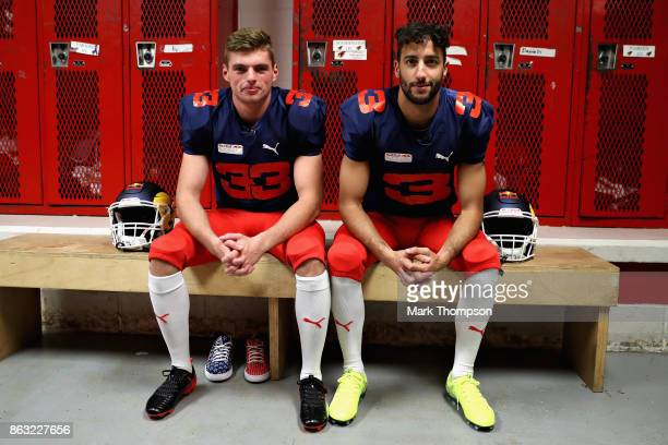Daniel Ricciardo of Australia and Red Bull Racing and Max Verstappen of Netherlands and Red Bull Racing prepare for a training session with the Del...
