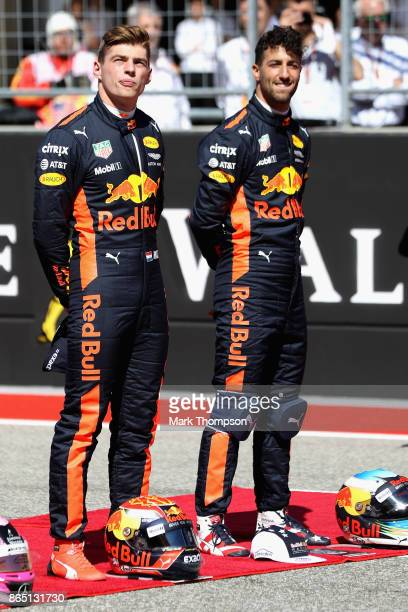 Daniel Ricciardo of Australia and Red Bull Racing and Max Verstappen of Netherlands and Red Bull Racing on the grid before the United States Formula...