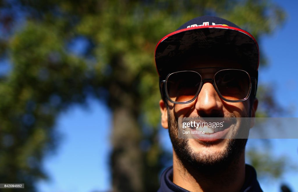 Daniel Ricciardo of Australia and Red Bull Racing arrives at the circuit before the Formula One Grand Prix of Italy at Autodromo di Monza on September 3, 2017 in Monza, Italy.