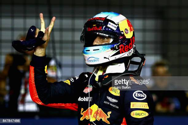 Daniel Ricciardo of Australia and Red Bull Racing celebrates after qualifying in third place during qualifying for the Formula One Grand Prix of...