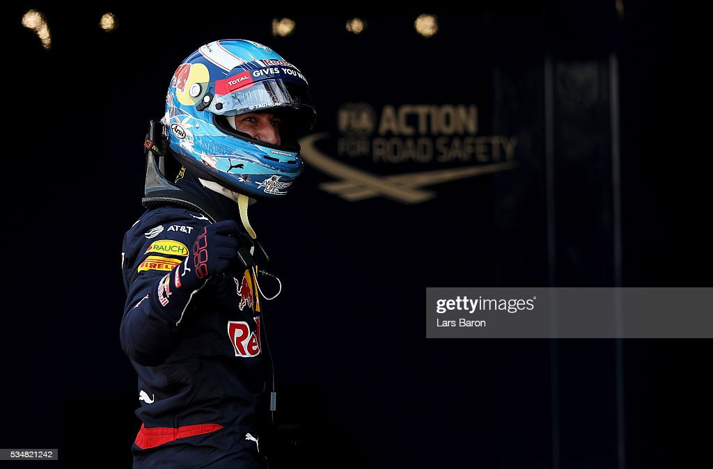 <a gi-track='captionPersonalityLinkClicked' href=/galleries/search?phrase=Daniel+Ricciardo&family=editorial&specificpeople=6547569 ng-click='$event.stopPropagation()'>Daniel Ricciardo</a> of Australia and Red Bull Racing celebrates his pole position in parc ferme during qualifying for the Monaco Formula One Grand Prix at Circuit de Monaco on May 28, 2016 in Monte-Carlo, Monaco.