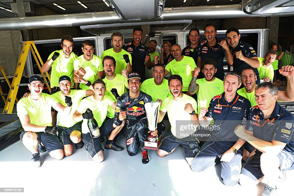 Daniel Ricciardo of Australia and Red Bull Racing celebrates finishing in second position with his team during the Formula One Grand Prix of Belgium...
