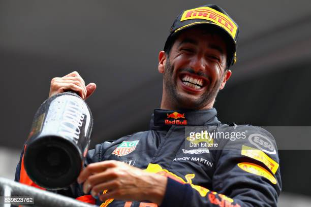 Daniel Ricciardo of Australia and Red Bull Racing celebrates finishing in third place during the Formula One Grand Prix of Belgium at Circuit de...