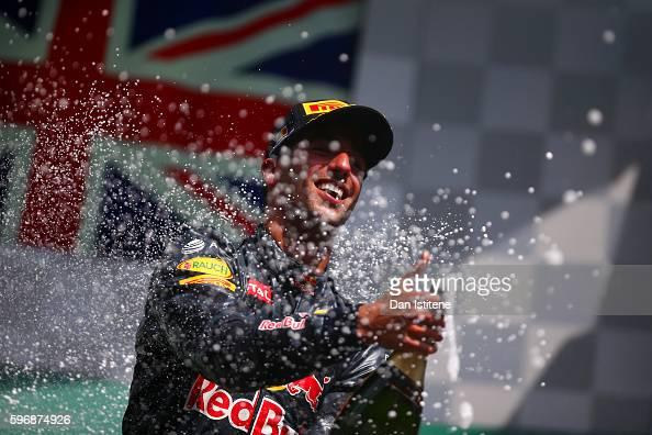 Daniel Ricciardo of Australia and Red Bull Racing celebrates on the podium during the Formula One Grand Prix of Belgium at Circuit de...