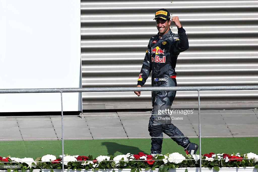 Daniel Ricciardo of Australia and Red Bull Racing celebrates on the podium during the Formula One Grand Prix of Belgium at Circuit de...