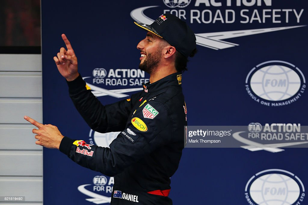 Daniel Ricciardo of Australia and Red Bull Racing celebrates qualifying second in parc ferme during qualifying for the Formula One Grand Prix of China at Shanghai International Circuit on April 16, 2016 in Shanghai, China.