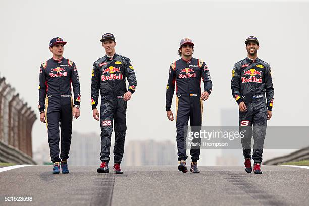 Daniel Ricciardo of Australia and Red Bull Racing Daniil Kvyat of Russia and Red Bull Racing Carlos Sainz of Spain and Scuderia Toro Rosso and Max...