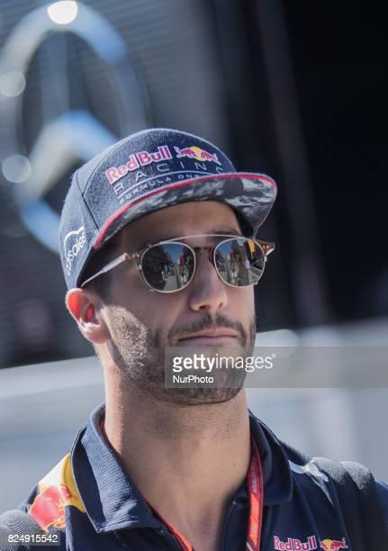Daniel Ricciardo of Australia and Red Bull Racing driver arrives to paddock at Pirelli Hungarian Formula 1 Grand Prix on Jul 30 2017 in Mogyoród...