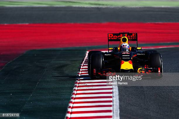 Daniel Ricciardo of Australia and Red Bull Racing drives during day four of F1 winter testing at Circuit de Catalunya on March 4 2016 in Montmelo...
