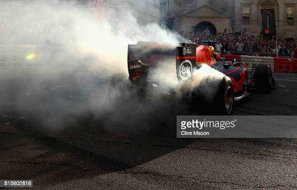 Daniel Ricciardo of Australia and Red Bull Racing driving the Red Bull Racing RB7 during F1 Live London at Trafalgar Square on July 12 2017 in London...