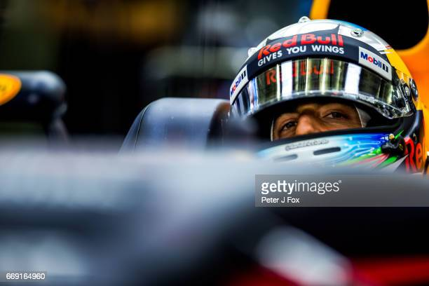 Daniel Ricciardo of Australia and Red Bull Racing during the Bahrain Formula One Grand Prix at Bahrain International Circuit on April 16 2017 in...