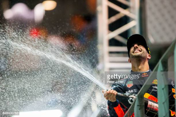 Daniel Ricciardo of Australia and Red Bull Racing during the Formula One Grand Prix of Singapore at Marina Bay Street Circuit on September 17 2017 in...