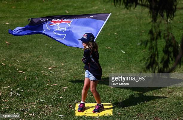 Daniel Ricciardo of Australia and Red Bull Racing fan during the Australian Formula One Grand Prix at Albert Park on March 20 2016 in Melbourne...